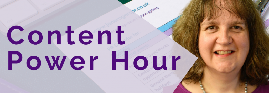 Content power hour header image with Jane Rogers