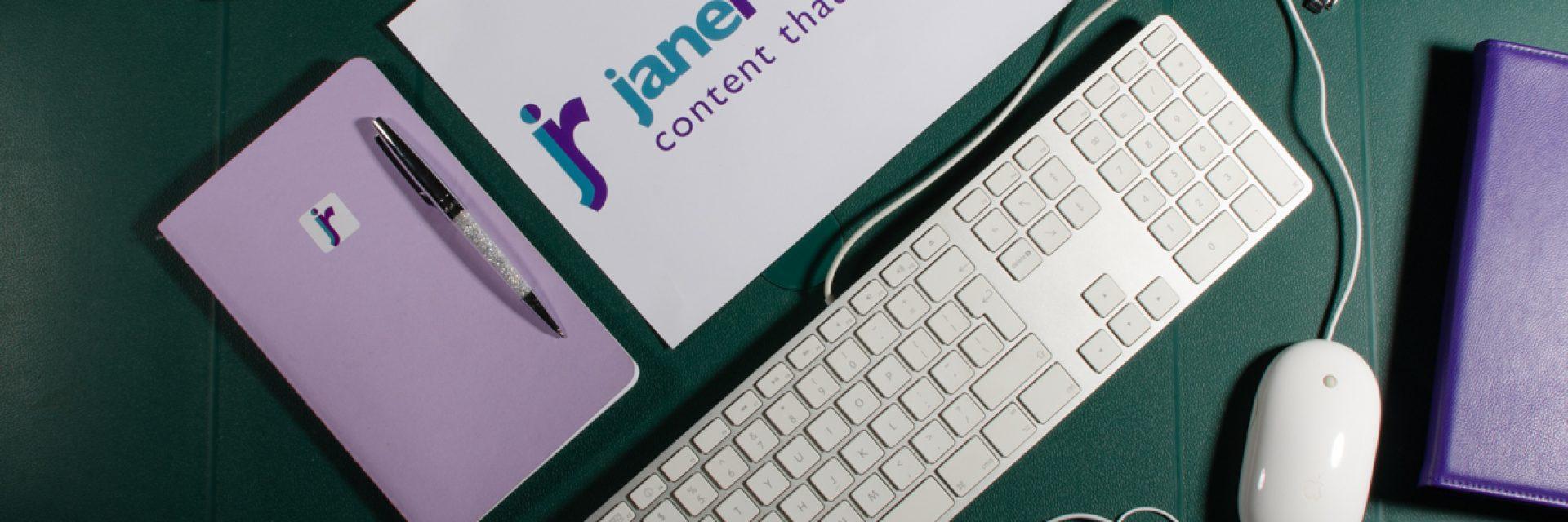 Jane Rogers PR logo & keyboard